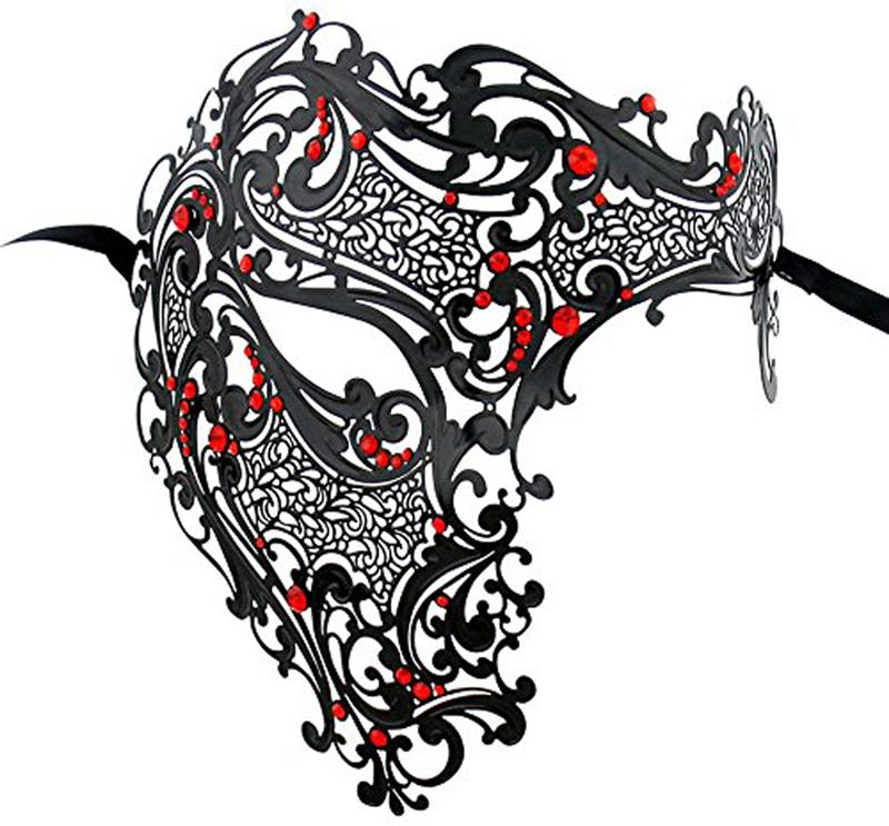 Black Gold Venetian Phantom Laser Cut Venetian Mask Masquerade Metal Men or Women Skull Filigree for party Mask Costume