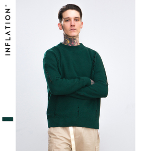 INFLATION Ripped Out Holes Sweater Pullover Winter Autumn Distressed Sweaters Mens Knitted Sweater Male Hip Hop Streetwear 8732W