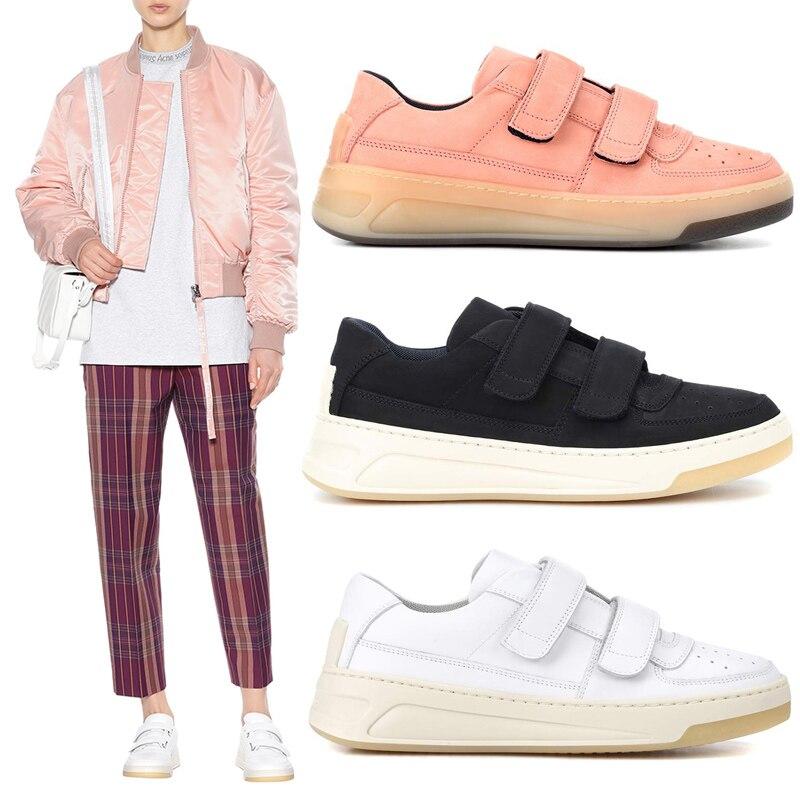 Rond Cuir Deux Boucle Été Sneaker Crochet Nouveau Bas Et Rose Respirant Show Chaussures Blanc top As Printemps En Véritable as Sangle Show Casual 2019 Femmes Bout x7ww6nq