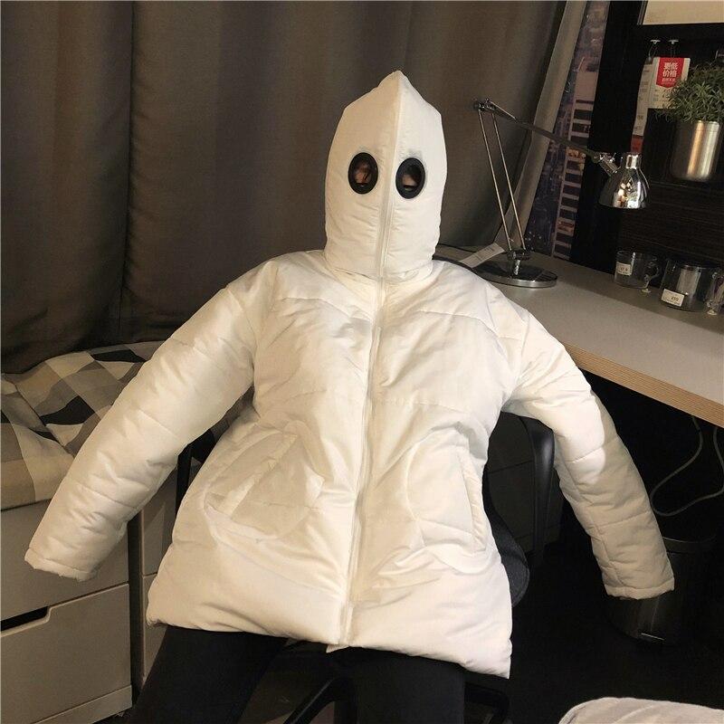 New Coat Winter Women Men   Parkas   White Black Funny Personality Harajuku Cute Alien Coat Full Face Cap Hooded Thick   Parkas