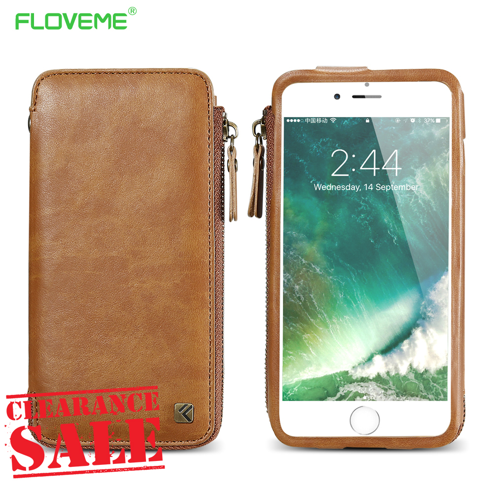 FLOVEME Universal Zipper Phone Bag Wallet Case For iPhone 8 8 Plus 7 6s Plus PU Leather Protective Cover Case For Galaxy S6 S7