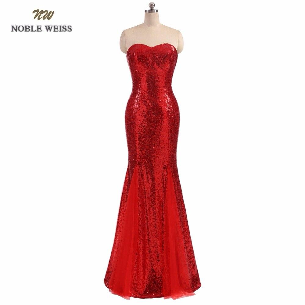 NOBLE WEISS Elegant Sequin Mermaid Floor Length Evening Dress Cheap Prom Dresses Robe De Soiree Off
