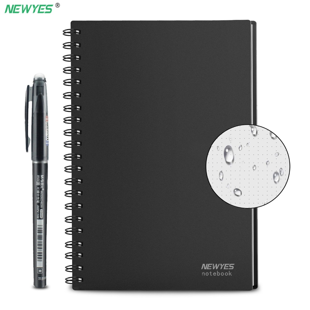 NeWYeS A4 Wet Erasable Reusable Smart Writing Notebook Black Waterproof Paper Auto-Scan Customized Gift Wire Bound Spiral Notes