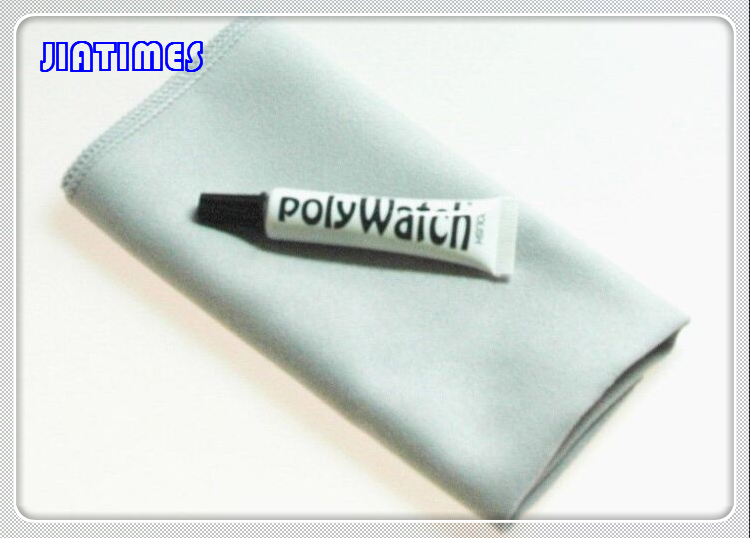 Free Shipping 1pcs  Polywatch SCRATCH REMOVAL Plastic/Acrylic Watch Crystals Glasses +1pc Free Cleaning Cloth