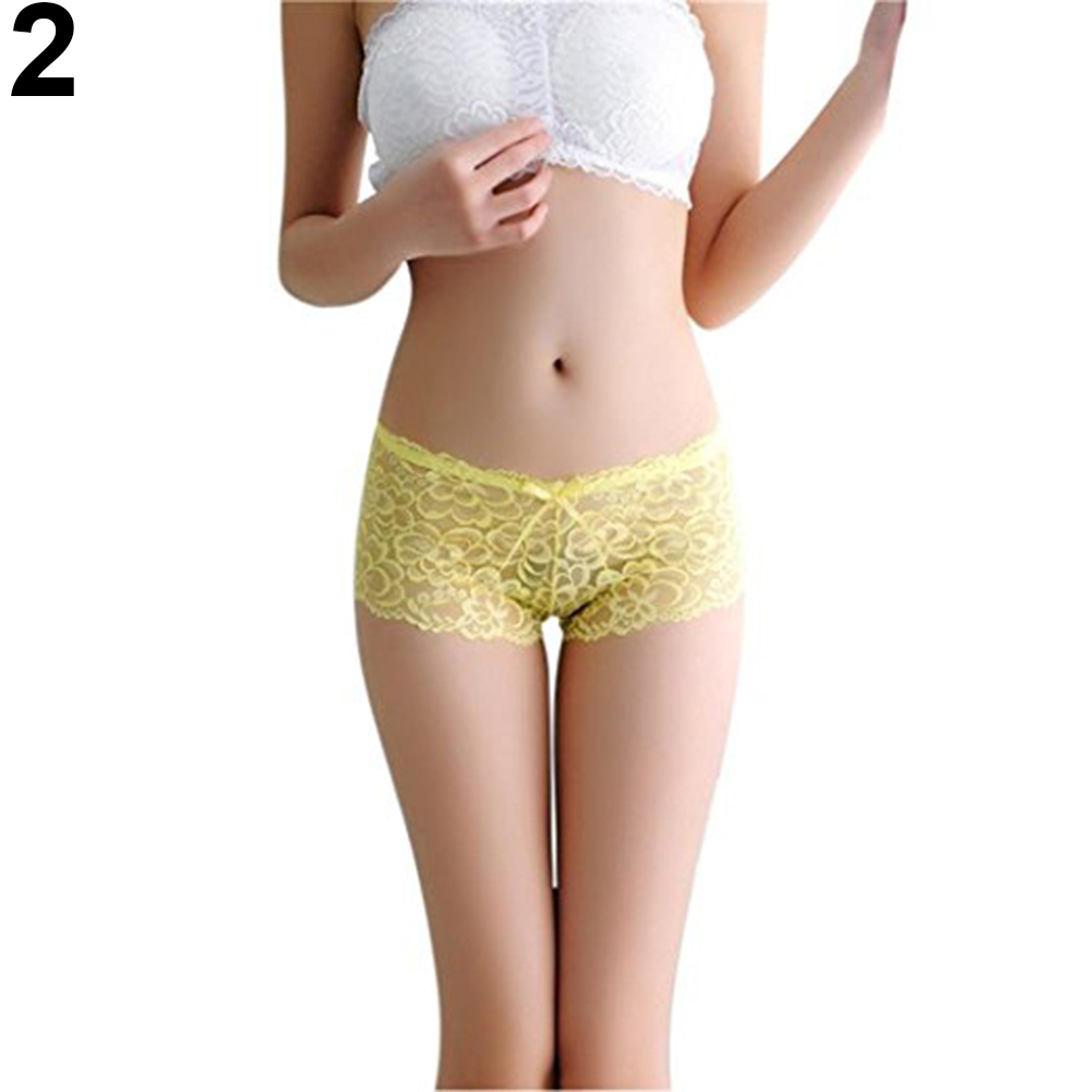 Women Sexy Lace See Through Briefs Panties Bowknot Thongs Underwear Sleepwear