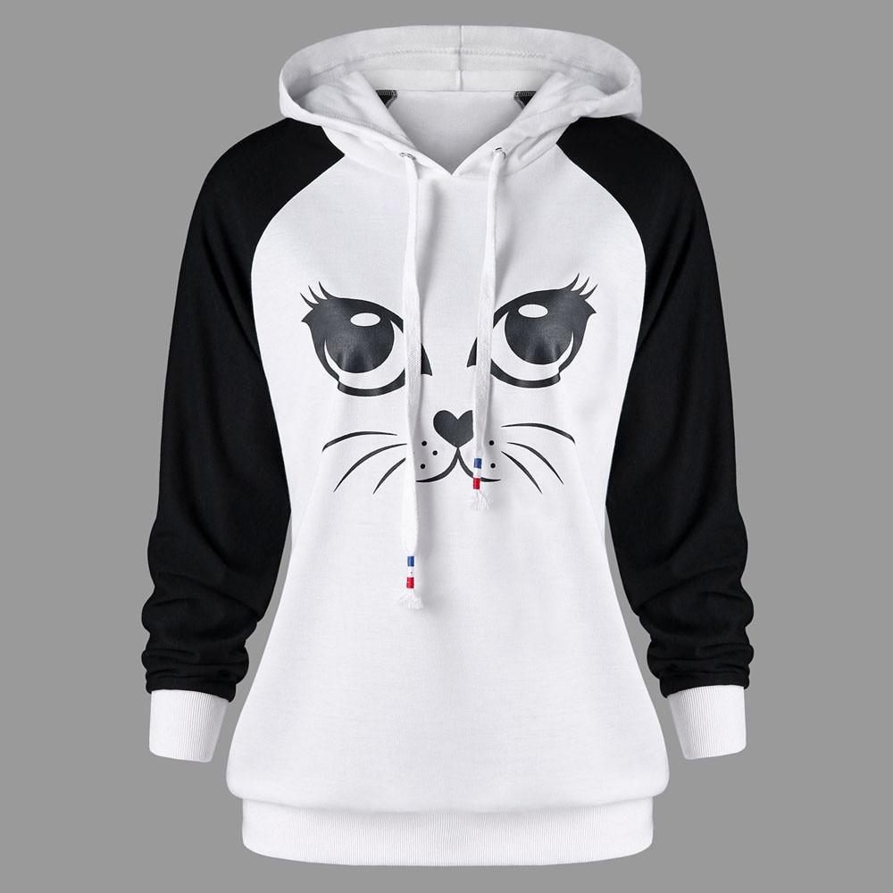 Cute Hoodies Warm Sportswear Women's Cat Printed Long Sleeve Hoodie Sweatshirt Jumper Hooded Pullover Tops Tracksuits Clothing