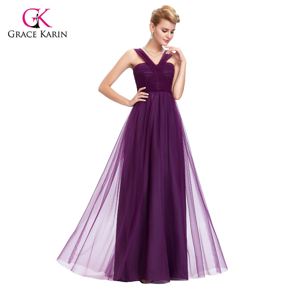 Bridesmaid Dress 2018 Grace Karin V Neck Tulle Backless Cheap Prom