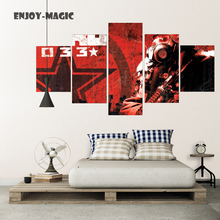 Home Decor Canvas Poster Game Metro 2033 Home Decoration Wall Art Modern 5 Piece HD Oil Painting Picture Panel Print A-055
