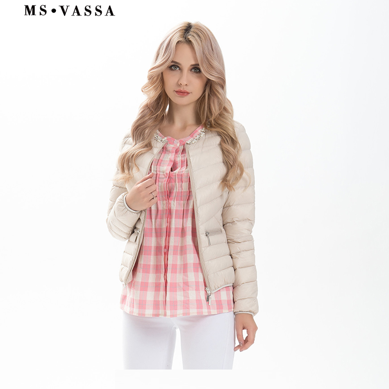 MS VASSA Ladies jacket Low price with pearl decoration at neck Women white duck down jacket plus over size S-7XL ...