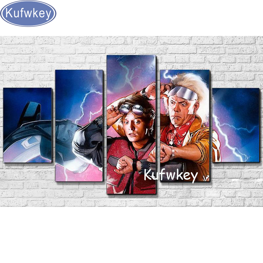 full diamond painting Movie Wall Art Diamond Embroidery mosaic Home Decor Modular Pictures 5 Pieces Back To The Future Painting