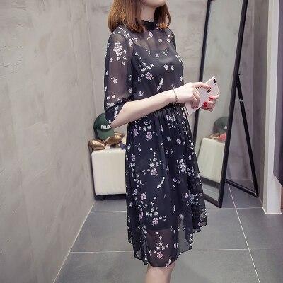 CHUNLI Large size XL 2XL 3XL 4XL 5XL 2019  Women summer dress slimming floral dress + condole belt two pieces. 2