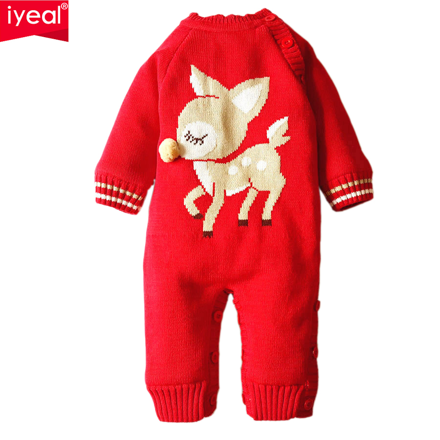 IYEAL Baby Rompers 2017 Fashion Winter Thick Warm Clothes Newborn Infant Boys Girls Cotton Knitted Sweater Christmas Outwear cotton baby rompers set newborn clothes baby clothing boys girls cartoon jumpsuits long sleeve overalls coveralls autumn winter