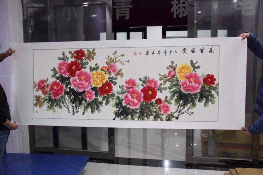 220 см большой дом компании зал Лобби вестибюль стены Топ декоративная живопись богатые цветы пиона фэн шуй картина ручной работы