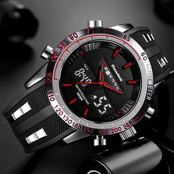 Brand New Men sport zegarki wodoodporne męskie wojskowe cyfrowy kwarcowy zegarek budzik ze stoperem podwójny czas strefy relogio masculino tanie i dobre opinie Readeel 24 5cm Podwójny Wyświetlacz QUARTZ 3Bar Klamra STAINLESS STEEL 16mm Hardlex Kwarcowe Zegarki Na Rękę RUBBER
