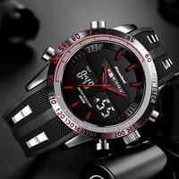Marca nova masculino relógio de quartzo relógio de pulso à prova dmilitary água dos homens dos esportes relógio de alarme cronômetro duplo fusos horários relogio masculino|Relógios de quartzo| |  -