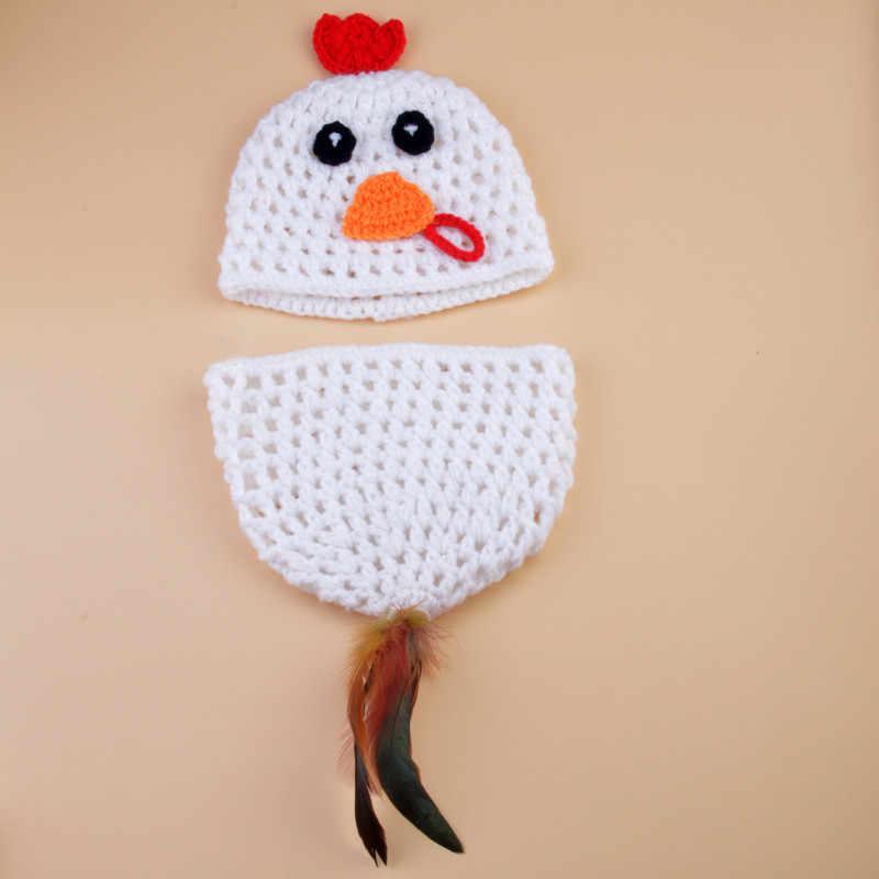Szydełkowe dzianiny dziecko kurczak kury kostium noworodka fotografia rekwizyty Handmade zwierząt stylowe ubranka dziecięce H265