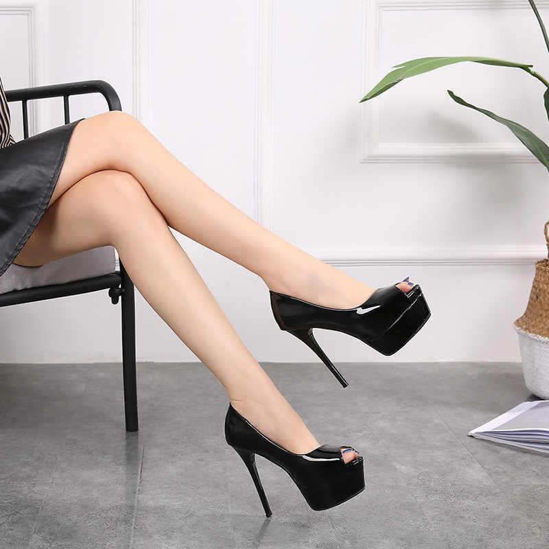 Gợi Cảm Nền Tảng Gót Giày Cao Cấp-Giày Nữ Bơm Tiệc Cưới Giày Cao Gót Nữ Giày Nữ 12 Cm Sapatos feminino 2019