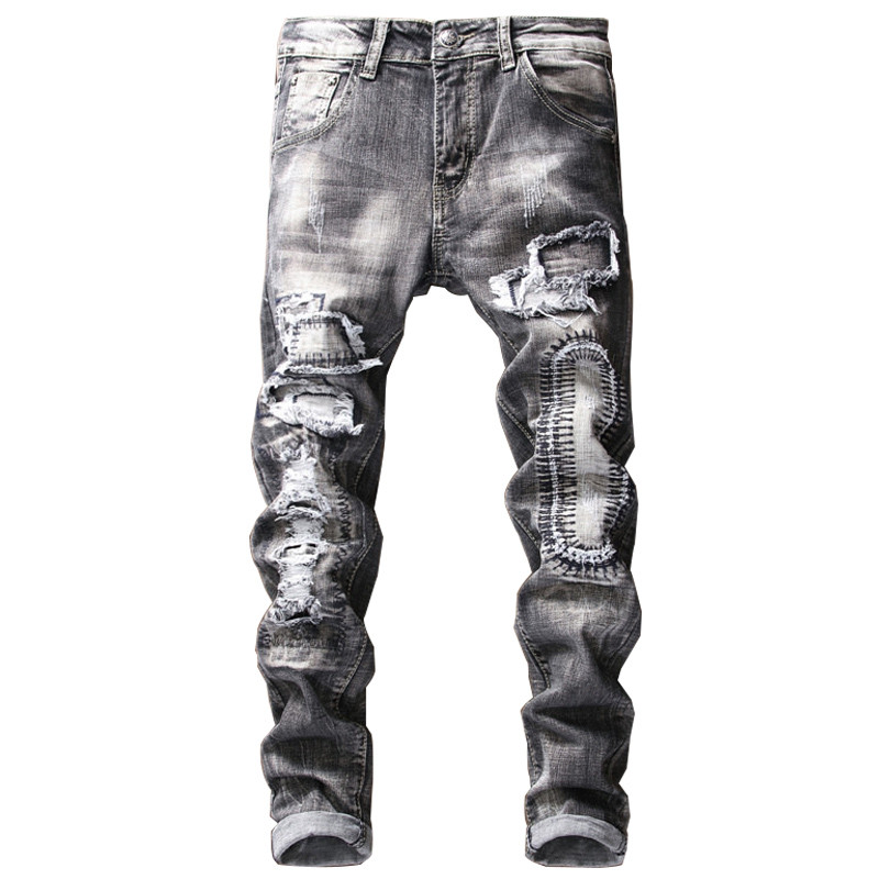 Newsosoo New Fashion Mens Hi Street Ripped Jeans Pants Streetwear Destroyed Distressed Denim Trousers With Holes Patchwork
