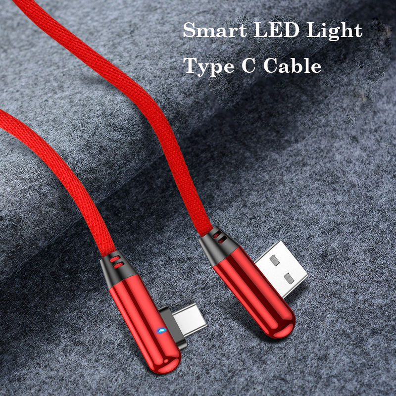 90 Degree Type C Cable For Huawei P30 Mate 20 P20 Pro Smart LED Light USB C Charger For Xiaomi MINI 9 Redmi Note 7 Phone Cable in Mobile Phone Cables from Cellphones Telecommunications