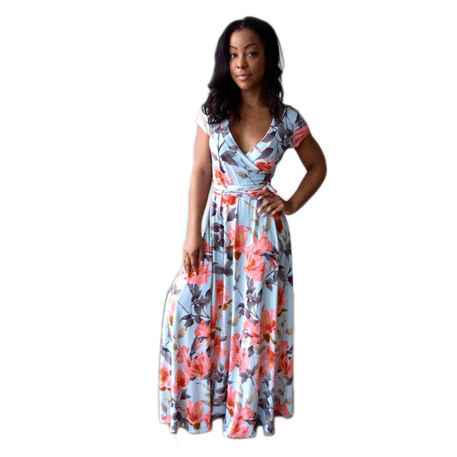 cca7c39fdfd Woman Long Dress Fashion Blue Floral Print Short Sleeve Boho African Summer  Draped Casual Party Beach Long Maxi Dress 2018