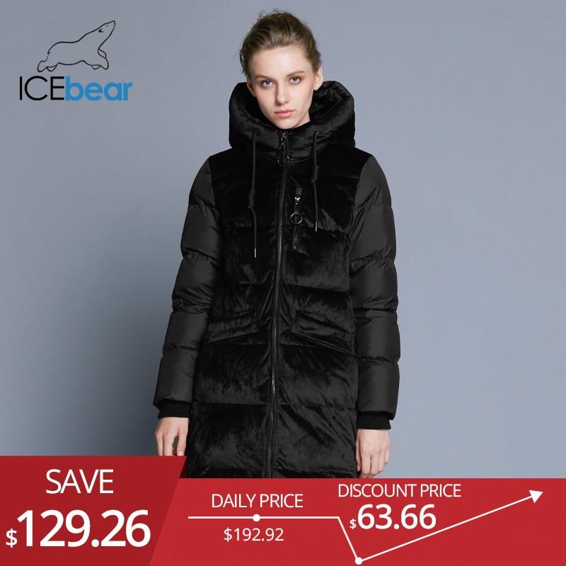ICEbear2018 nouveau haute qualité d'hiver veste de velours épais chaud femmes parka de vêtements de mode casual femmes de marque manteau GWD18080