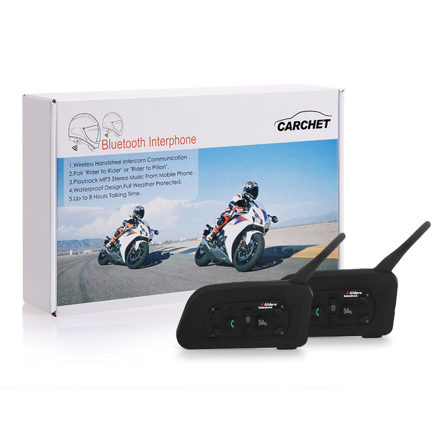 CARCHET 2X Bluetooth Headset Casco Intercomunicadores BT Bluetooth Del Casco de La Motocicleta Interphone Auriculares 1200 M para 6 personas