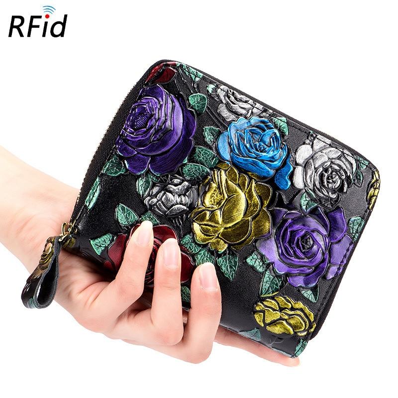 Large Capacity RFID Credit Card Holder Zipper Organ Flower Cardholder Fashion Women Lady Card Wallet Coins Bag Porte Carte