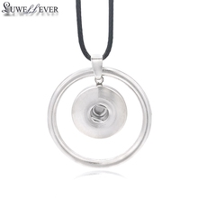 Fashion Interchangeable Flower Round Ginger Necklace 074 Fit 18mm Snap Button Pendant Charm Jewelry For Women Gift