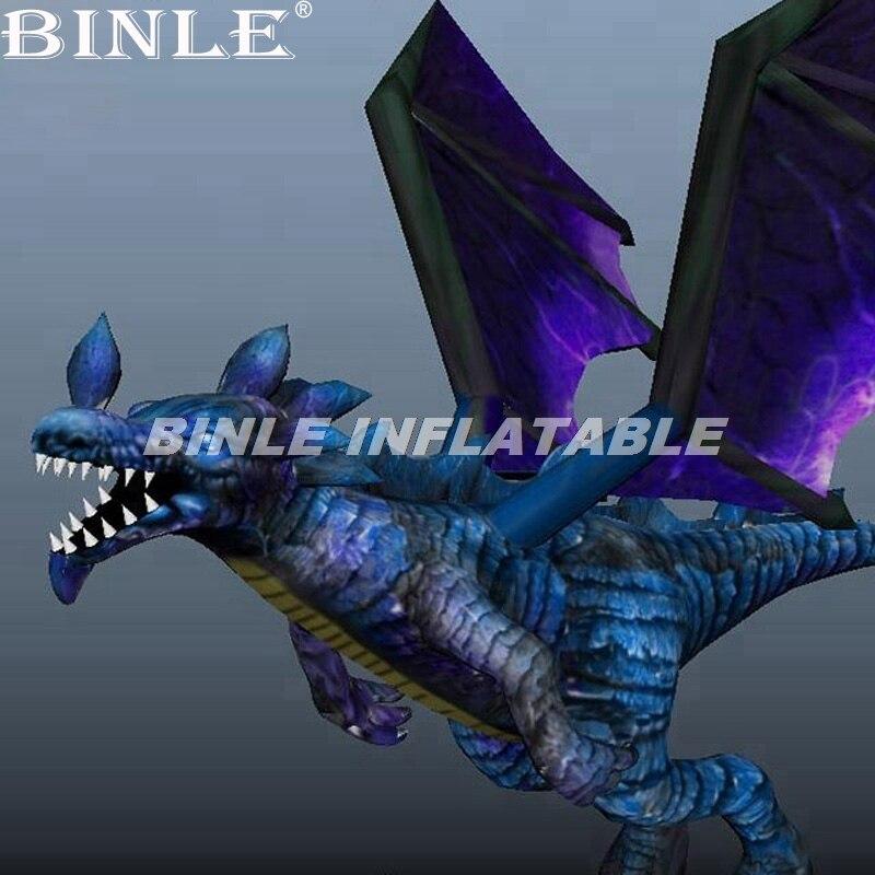 Dragon gonflable géant le plus populaire de 6 m de haut dragon gonflable rouge bleu avec des ailes pour la décoration de fête