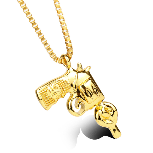 Alibaba aliexpress hot hot sell hip hop chain revolver pistol gun charm pendant necklace men 3 color cool necklace mozeypictures Images