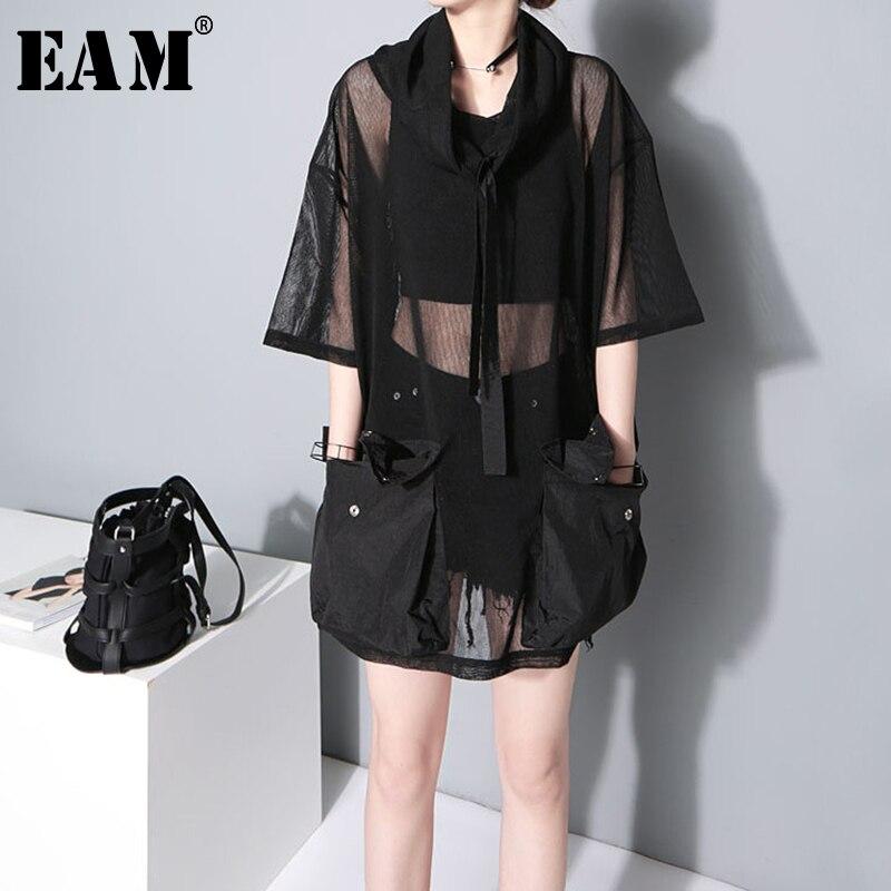 [EAM] 2020 New Spring Autumn Turtleneck Half Sleeve Big Pockets Mesh Bandage Button Perspective T-shirt Women Fashion Tide JY935