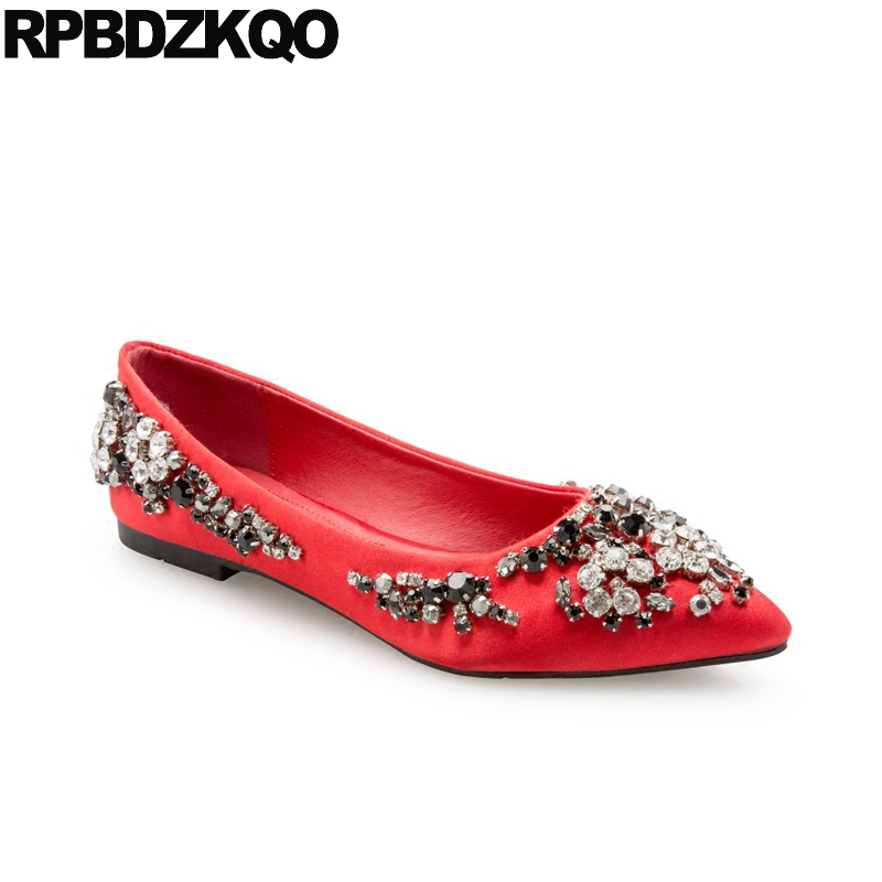 Crystal Diamond Red Wedding Suede China Chinese Pointed Toe Rhinestone  Bling Flats Ladies Women Slip On Shoes Beautiful Drop-in Women s Flats from  Shoes on ... 3b3222e8548b
