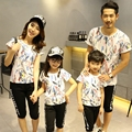 Free shipping Summer Parent child outfits Graffiti family sets sports mother daughter children family look T shirts + Shorts