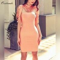 Ocstrade Women Summer Bandage Dress 2018 Party Mini Orange Sexy Collar Strapless Bodycon Bandage Dress Wholesale
