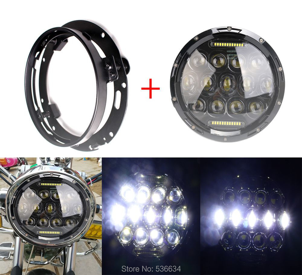 75W 7 Inch LED Round Projector Daymaker Headlight With Black LED Headlight Mounting Bracket For Harley-Davidson Road King 2pcs 7 inch headlight 75w 5d round daymaker led projector headlight for harley davidson motorcycle