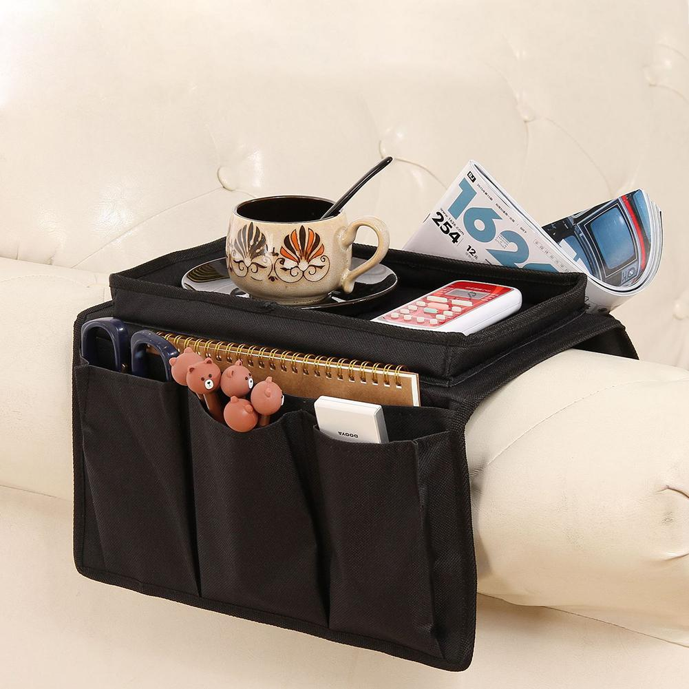 Black WINOMO Sofa Armrest Organizer Bag Couch Armchair Hanging Storage Bag with Tray for TV Remote Control Cellphone Magazine Books