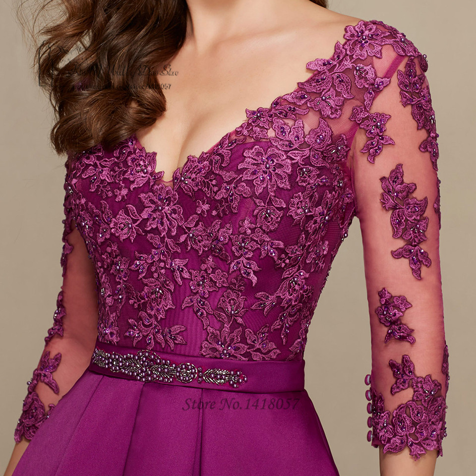 Púrpura elegante de Marfil Madre de la Novia Vestidos de Encaje 2017 ...