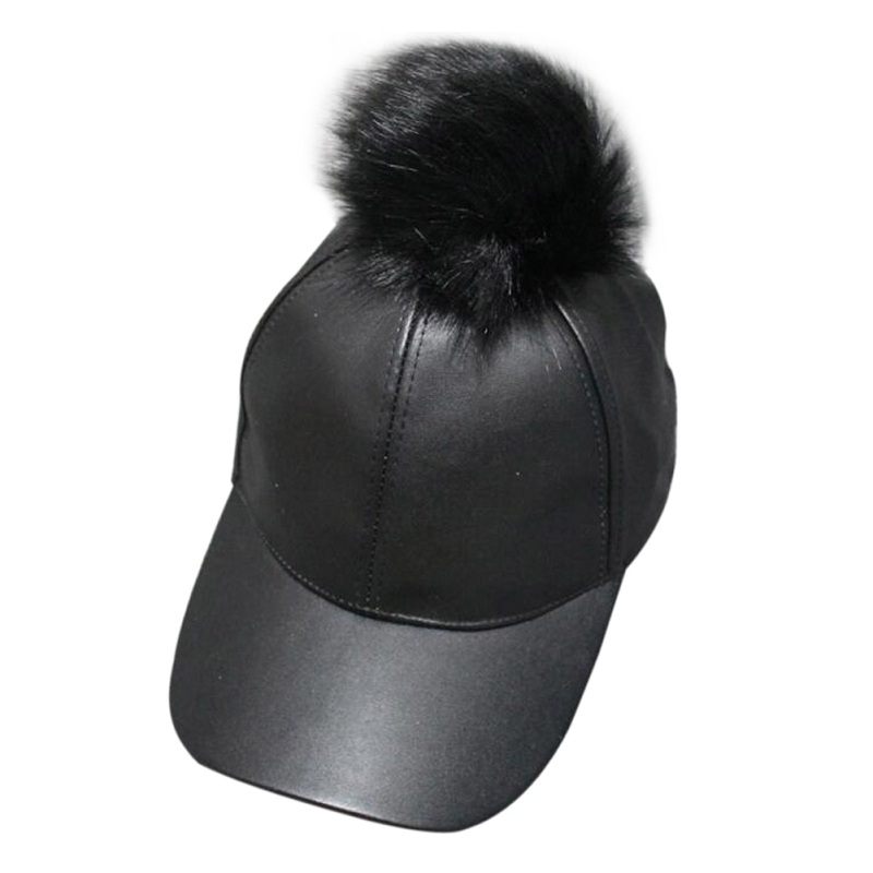 Women Men Unisex PU Leather Ball Suede Adjustable Baseball Cap Real Fur Poms Baseball Hats Hiphop Casual Snapback Winter Hats fashion letter hats gorros bonnets winter cap women men skullies beanie female hiphop knitted hat toucas