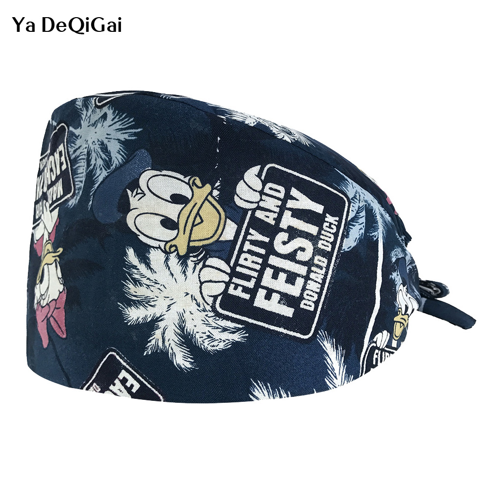 New Unisex Doctor Nurse Scrub Caps Printing Medical Surgical Cap Dental Clinic Surgery Work Caps Adjustable Operating Hat Mask