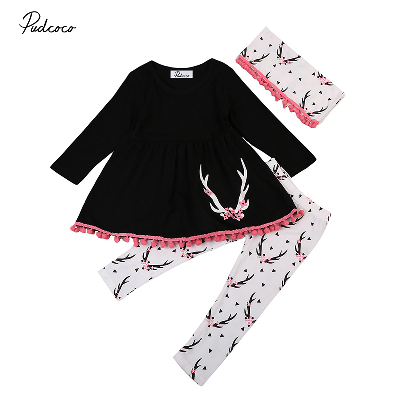 2017 New Children Girl Clothes Long Sleeve Tassel Mini Dress Tops+Deer Pant Legging Scarf 3PCS Outfit Toddler Kids Clothing Set 2017 new fashion kids clothes off shoulder camo crop tops hole jean denim pant 2pcs outfit summer suit children clothing set