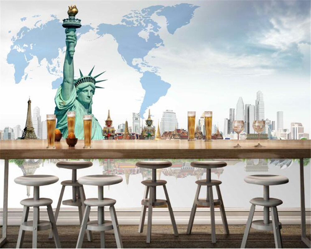 US $8.85 41% OFF beibehang hudas beauty Custom Personality American  Building behang Statue of Liberty Wallpaper Map wallpaper for walls 3 d-in  ...