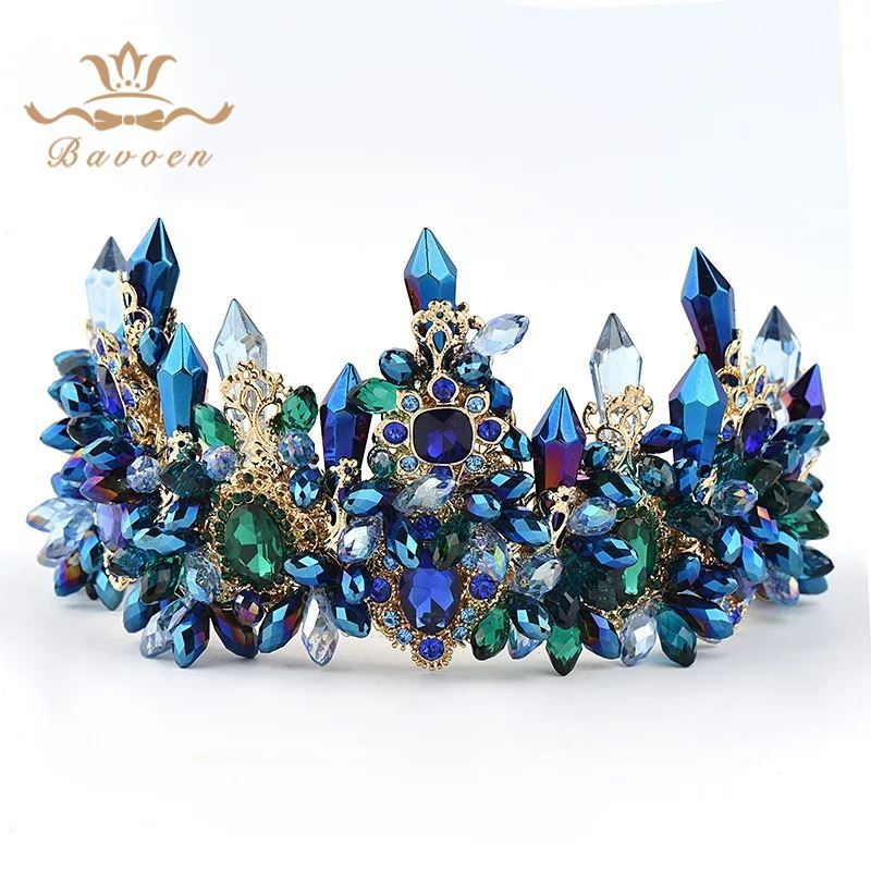Bavoen Brides Oversize Blue Baroque Royal Crown Headpiece Retro Green Rhinestone Tiara Hairbands Wedding Hair Jewelry-in Hair Jewelry from Jewelry & Accessories on Aliexpress.com | Alibaba Group