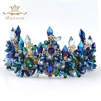 Bavoen Brides Oversize Blue Baroque Royal Crown Headpiece Retro Green Rhinestone Tiara Hairbands Wedding Hair Jewelry