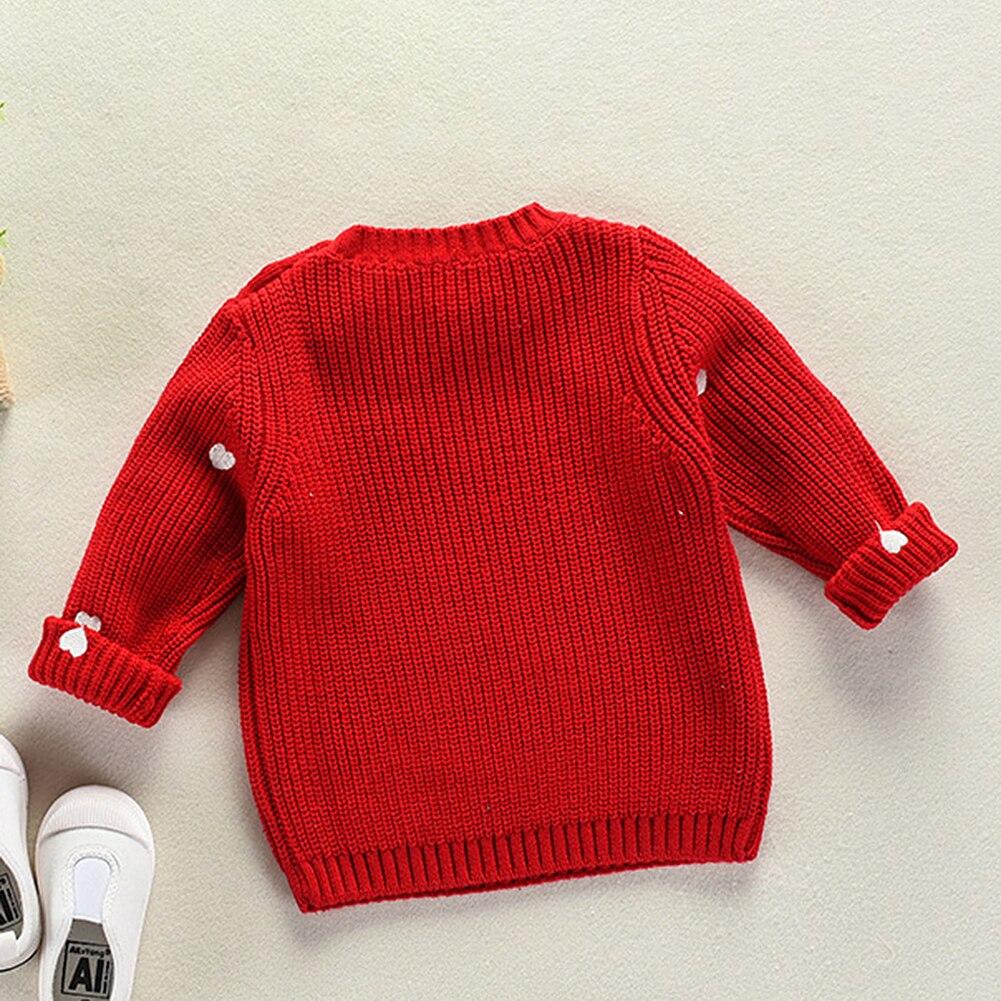 a41595cd8c0f Baby Girls Sweaters Beige Red Knitted Wear Girls Love Shape ...