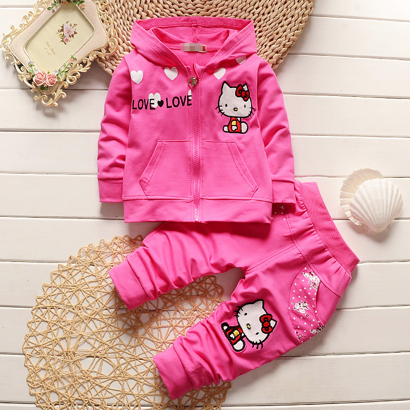 Toddler Girl Clothing Spring 2017 Cartoon Cat Long Sleeved Hooded Zipper Cardigan Coat Pants Kids Bebes