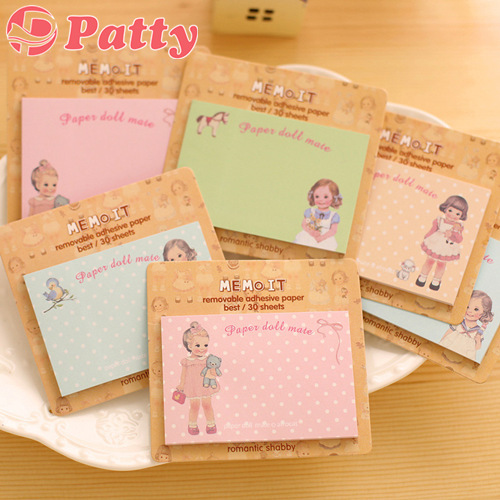 50 pcs/Lot Paper doll mate Removable adhesive paper Memo pad Post sticky notes cute stationery material School supplies F651