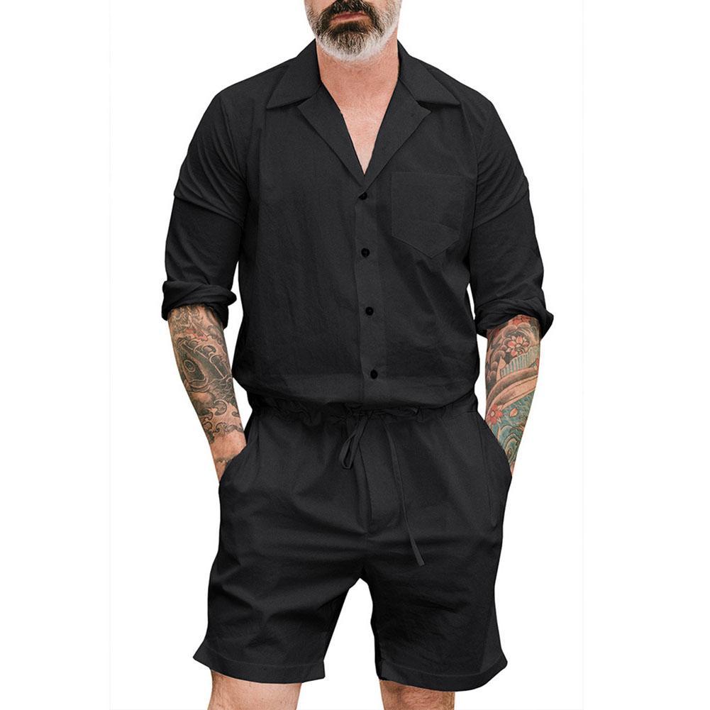 Wholesale Casual Long Sleeve Shirt Drawstring Shorts Jumpsuit Men Solid Color Romper