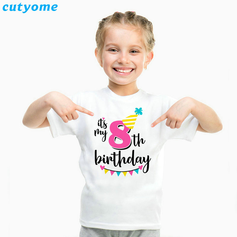Summer Baby T Shirt Tops Children's Clothing Happy Birthday Girls Boys Short Sleeve Kids Clothes Tee Girls Boys' T-shirts Casual (22)