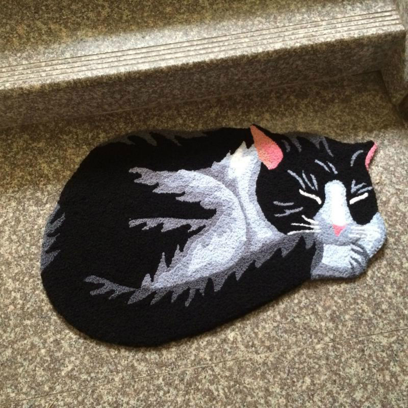 Drop Ship Black Alien Lazy Cat Floor Mat Welcome Home Door