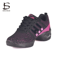 2017 New Women Modern Dance Shoes Flying Weaving Breathable Cozy Jazz Shoes Girl Running Fitness Shoes